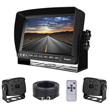 Dual Backup Cameras and Monitor Kit Wired for Van, RV, Semi Truck, on