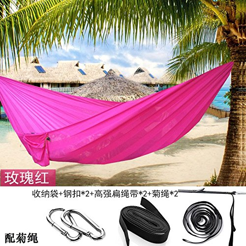 Pink Daisy rope Silk Soft Breathable mesh Hammock widening Double Outdoor Hammock, 230  160cm