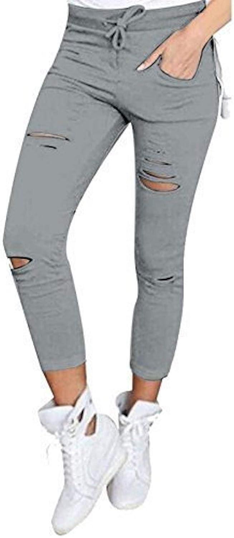 Pantalones ajustados Live It Style It, para mujer con diseño de rasgaduras