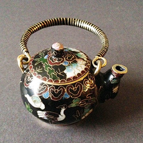 Chinese Vintage Cloisonne Tea Pot Teapot Bronze Brass Copper Enamel Handmade Black Color