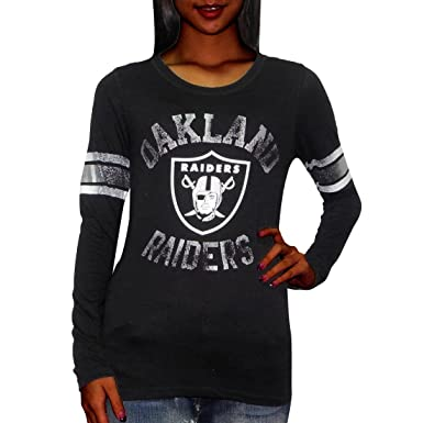 Victoria s Secret Pink Womens NFL Oakland Raiders Slim Fit Tee Large Black 60c28018a