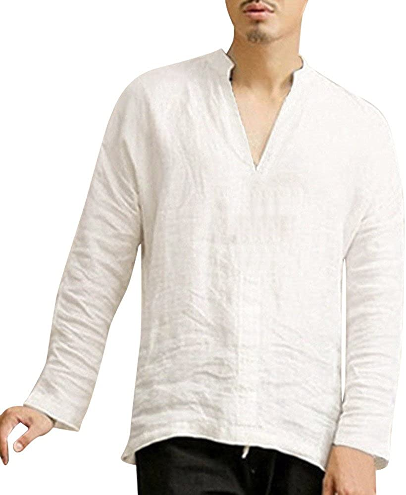DIOMOR Mens Hit/Items Fashion Wild Baggy Linen Long Sleeve Summer Cotton Retro V Neck T Shirts Tops Blouse
