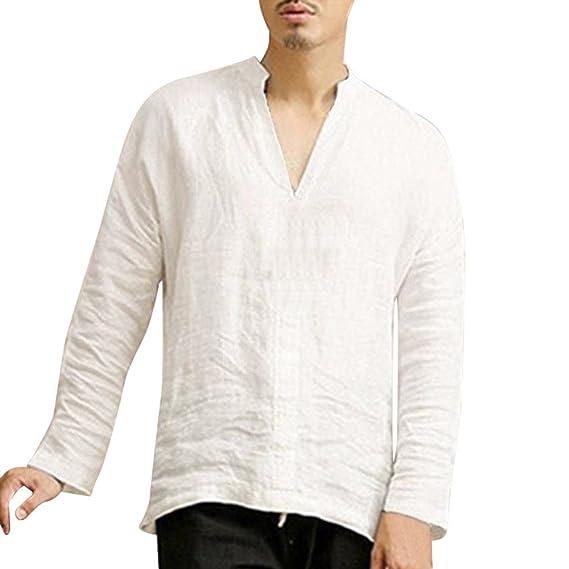 Camisetas de Manga Larga Holgado de algodón de Lino de los Hombres Tops Blusa Camisa de