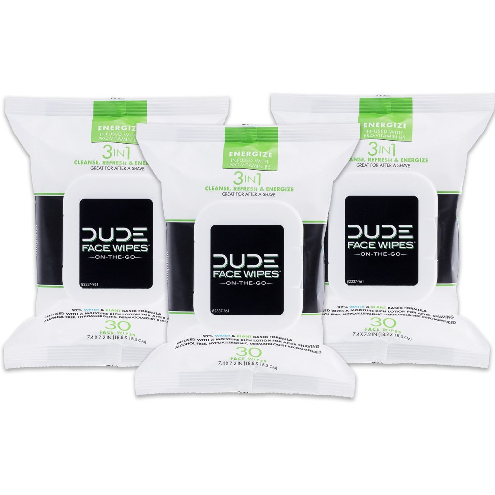 DUDE Face & Body Wipes (3 Packs, 30 Wipes Each) Energizing & Refreshing Scent Infused with Pro Vitamin B-5, Face Cleansing Cloths for Men, Lightly Scented, Hypoallergenic, Alcohol Free by Dude Products