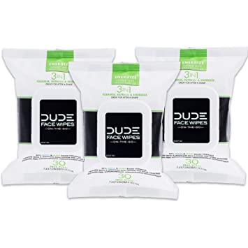 1ce85191ac9a DUDE Face & Body Wipes (3 Packs, 30 Wipes Each) Energizing & Refreshing  Scent Infused with...