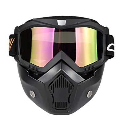 KKmoon Mortorcycle Mask Detachable Goggles and Mouth Filter for Open Face Helmet Motocross Ski Snowboard (Black): Automotive