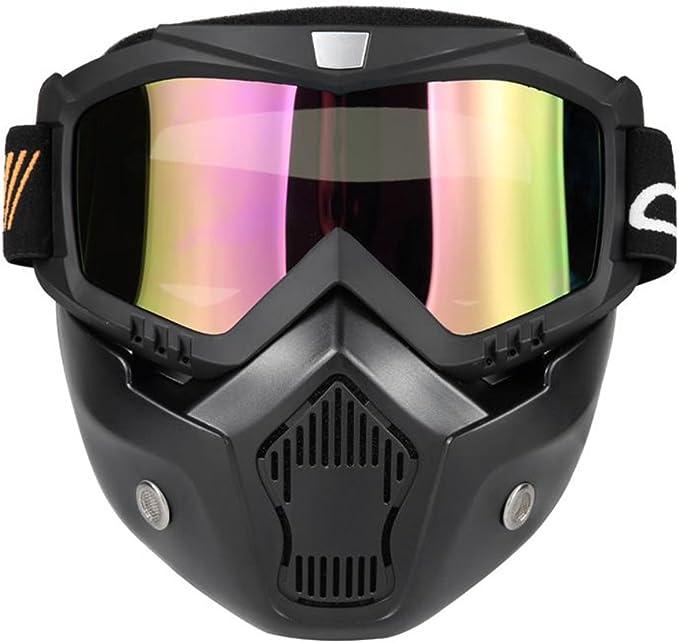 Imagen deKKmoon Gafas Desmontable Mascara del Moto Filtro de Boca para Cascos Abierto Media Cara de Motocross£¨Negro, Lente Coloria