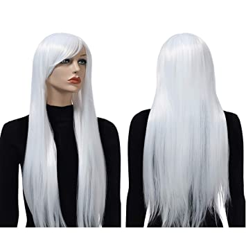 Womens Long Brown Straight Wig Hair Adult Halloween Costume Accessory NEW