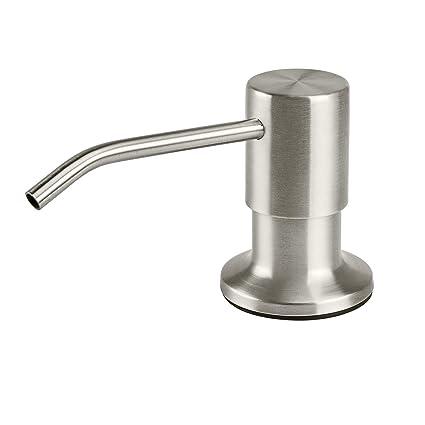Samodra Soap Dispenser For Kitchen Sink Premium Stainless Steel Pump Head Brushed Nickel 17 Oz Bottle 3 15 Inch Threaded Tube For Granite Thick Deck