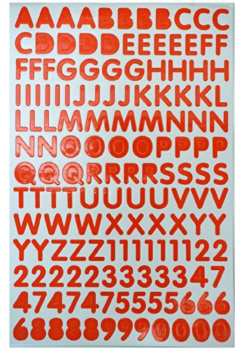 Jazzstick Alphabet Letters / Numbers Decorative Sticker Value Pack 5 sheets, Orange (VST14A03)