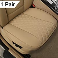 "Black Panther 1 Pair PU Car Seat Covers, Front Seat Bottom Protectors Compatible with 90% Vehicles,Diamond Pattern Embroidery,Anti-Slip & Full Wrapping Edge (W 21.26''×D 20.86""), Beige"