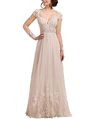 Adodress Women A-line Long Sleeve Lace Wedding Dresses Evening Dresses