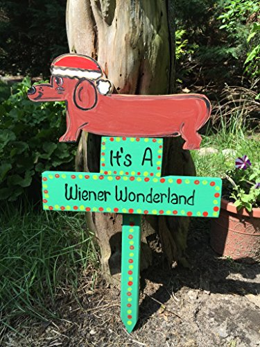Dog Holiday Sign (Wiener Wonderland dachshund doxie wiener dog sign lawn stake yard art)