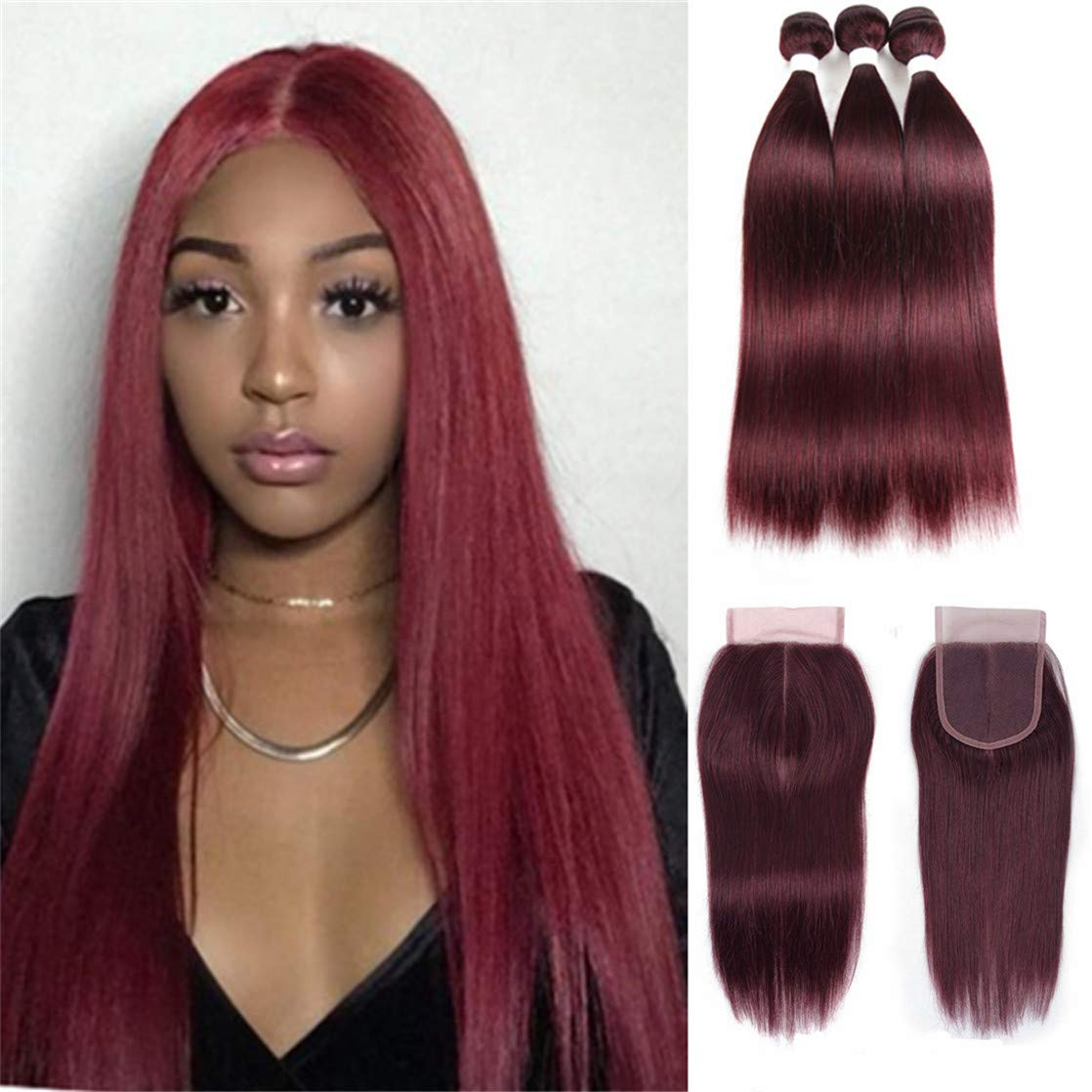 Brazilian Virgin Human Hair Extension 99j Straight Hair 3 Bundles With 4x4 Lace Closure Burgundy Wine Red Closure 100% Unprocessed Human Hair Weft Weaves (18 20 22 with 18c, 99j,burgundy)