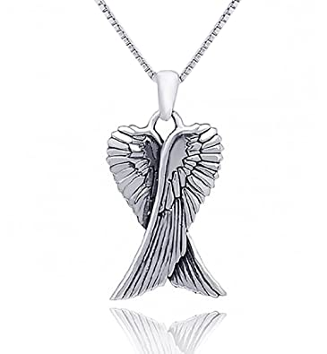 angel in necklace jewelry normal asos antiquegold wing gallery lyst metallic product pendant