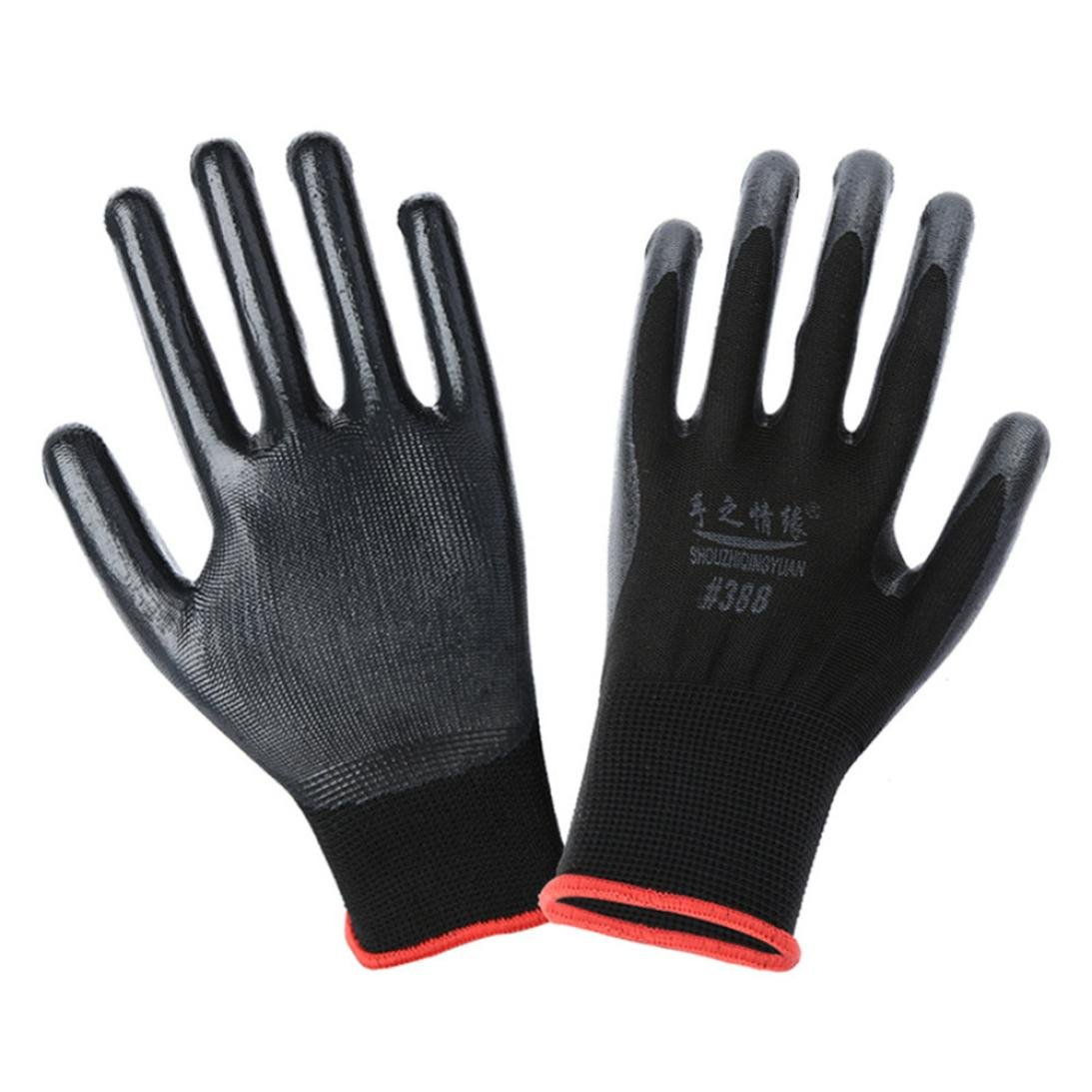 Botrong Wearable Coated Gloves Unisex Automotive Work Indoor Outdoor Use (Black)