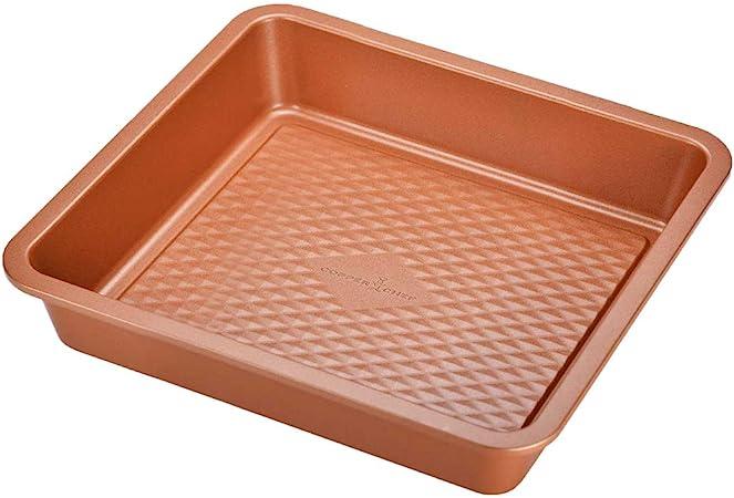 Molde cuadrado para hornear Copper Chef Diamond de 9 pulgadas con revestimiento antiadherente para horno de grado chef: Amazon.es: Hogar