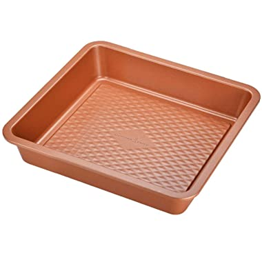 Copper Chef Diamond Cake Pan 9 Inch Square Bake Pan -Non Stick Coating Chef-Grade Baking Pans for Oven Use- Diamond Pan Collection