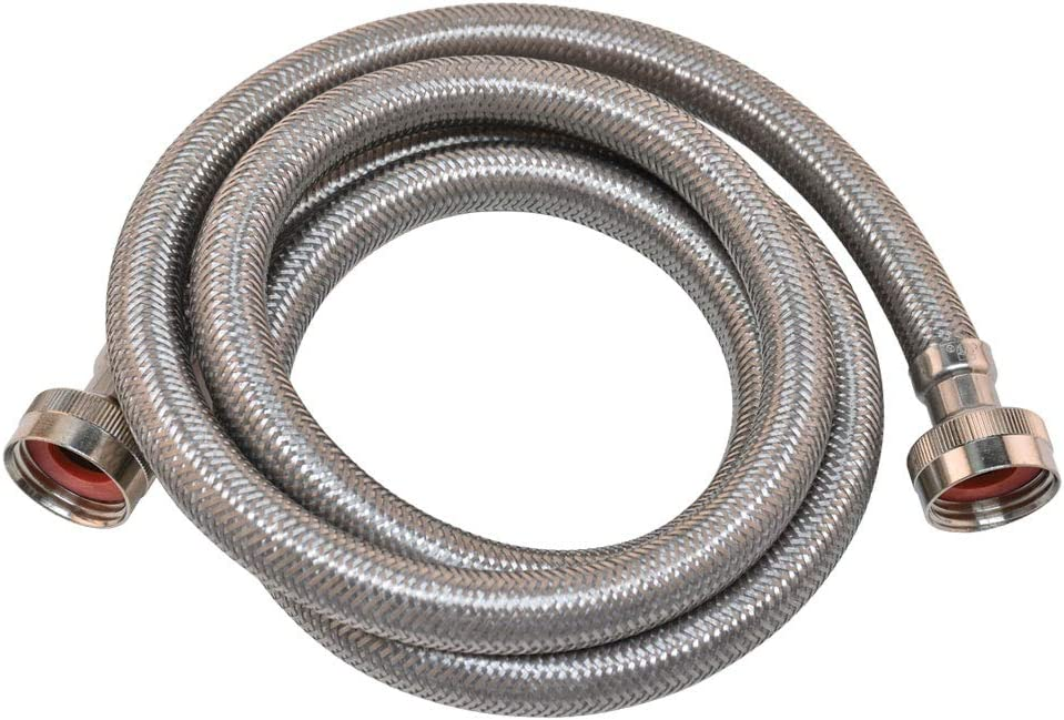 Eastman 48367 Stainless Steel Washing Machine Hose, 4 Ft Length, Silver