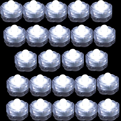 TDLTEK Waterproof submersible Led Lights Tea Lights For Wedding , Party, Decoration (24 Pieces White) -