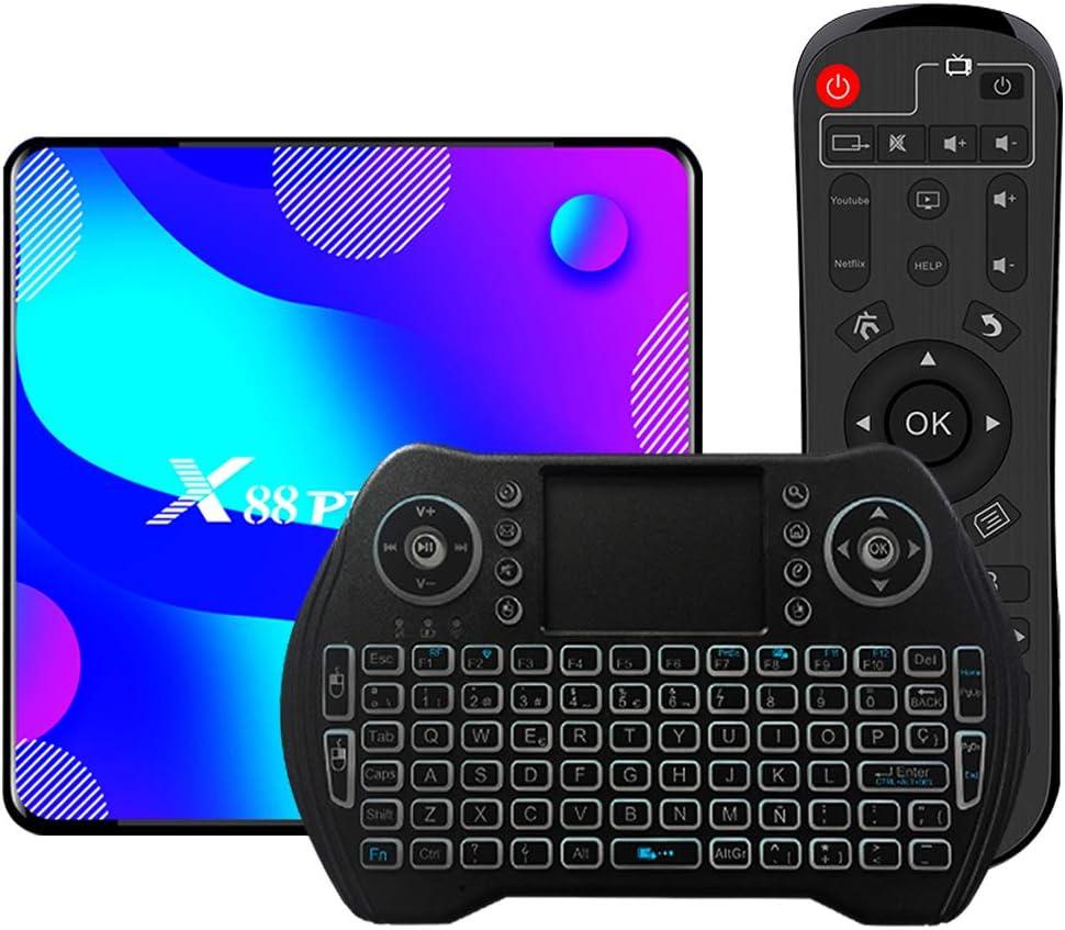 Android TV Box 10, 2GB RAM 16GB ROM Android 10 Compatible con 4K 3D H.265, RK3318 Dual-WiFi 2.4g / 5g Smart TV Box con Mini Teclado HDMI USB 3.0