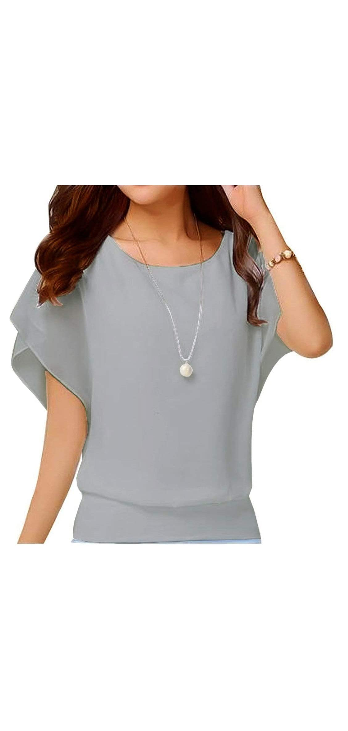 Women's Loose Casual Short Sleeve Chiffon Top T-shirt