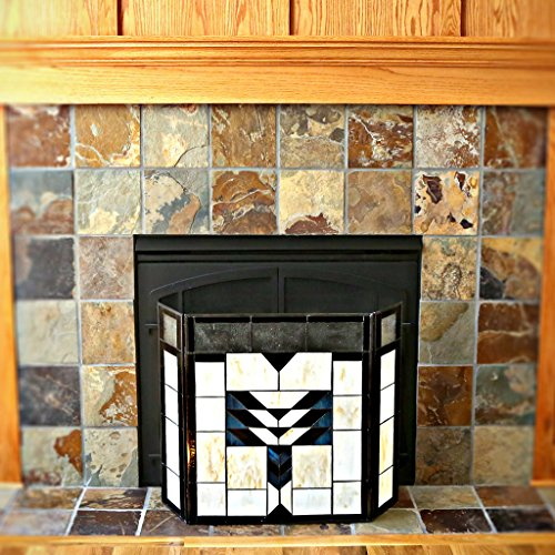 26 H Mission Style Stained Glass Fireplace Screen Home Garden Wood Stove Accessories Screens