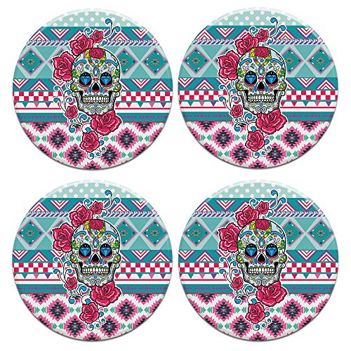 (CARIBOU ROUND Ceramic Stone Coasters 4pcs Set, Mug Coffee Cup Place Mat Home Coasters for Hot & Cold Drinks, Skull Flower Aztec)