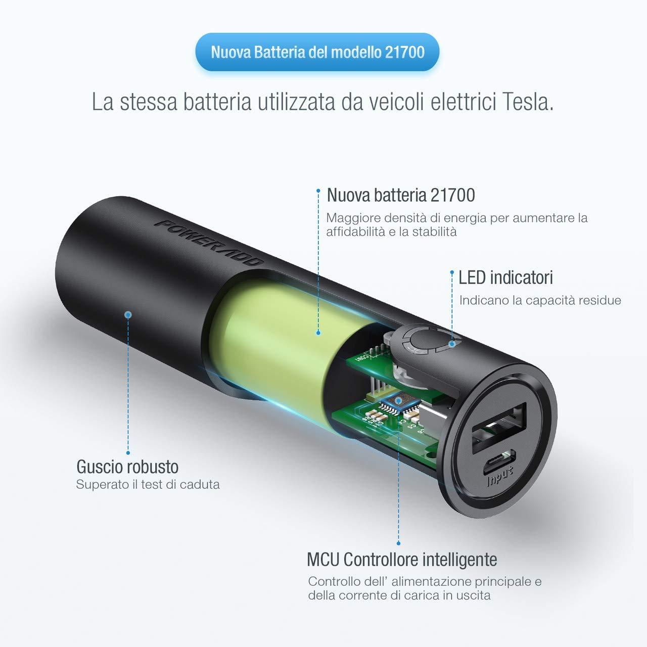 POWERADD EnergyCell PowerBank 5000mAh Caricabatterie Portatile con Output da 2.4A Ricarica Rapida Portatile Caricabatterie per Huawei, Samsung, iPhone, Xiaomi - (Un Cavo Micro USB)