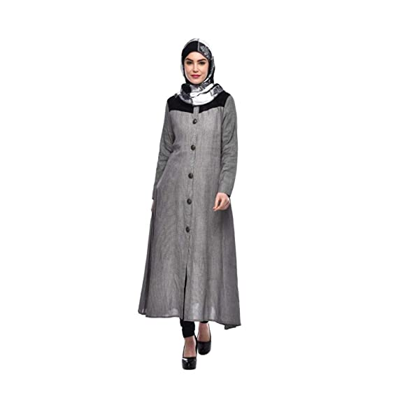c122a129cdb Glamzers Women's and Girl's Casual Full Front Button Long Sleeves Muslim  Abaya Burqa with Hijab Long Maxi Dress (Grey): Amazon.in: Clothing &  Accessories
