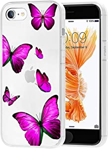 Zoeirc Case for iPhone 6S Plus Case, iPhone 6 Plus 5.5 inch Clear Case for Girls Women, Soft TPU Shockproof Protective Transparent Case Cover for iPhone 6 Plus/ 6S Plus (Rose Butterfly)