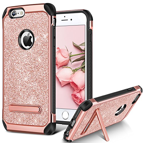 iPhone 6S Case, iPhone 6 Case, BENTOBEN Bling Glitter Slim Hybrid Dual Layer TPU Bumper Hard PC Cover Coat Sparkly Shiny Cute Faux Leather with Metal Kickstand for 4.7 inch iPhone 6S/6 Rose Gold