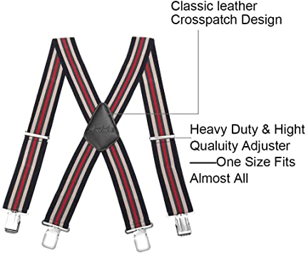 50MM Striped Elastic and Adjustable Men Trouser Braces Suspender X Shape with Metal Clips