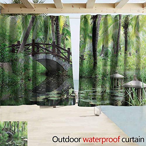 AndyTours Rod Pocket Top Blackout Curtains/Drapes,Zen Garden Green Landscape in South China Palm Trees and Bushes Lush Growth Nature,Rod Pocket Curtain Panels,W63x45L Inches,Green Grey Brown
