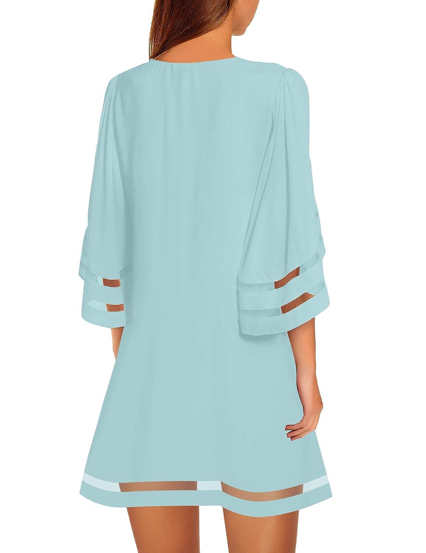 LookbookStore Women Casual Crewneck Mesh Panel 3//4 Bell Sleeve Loose Tunic Dress