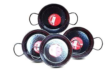 Campos Vaello La Valenciana 15 cm acero esmaltado paellera/plato de Tapas - juego de 4: Amazon.es: Hogar
