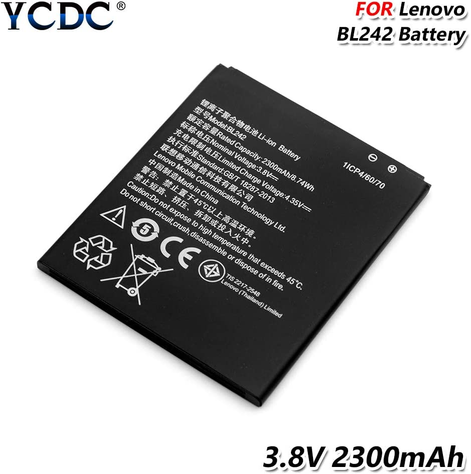 YCDC BL242 Battery 3.8V 2300mAh for Lenovo A3690 A3900 A6010 Plus K30-W K30-T K30-E,2300mAh BL 242 BL242 Battery for Lenovo K3 K30-T K30-E A6000 A6010 A6010 Plus