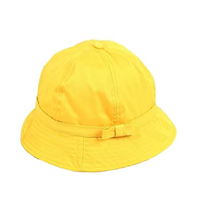 Women Bowknot Yellow Bucket Hat for Girl Lovely Windproof Fisherman Hat  Outdoor Sunscreen Cap Dome Hat 87f075e5b82