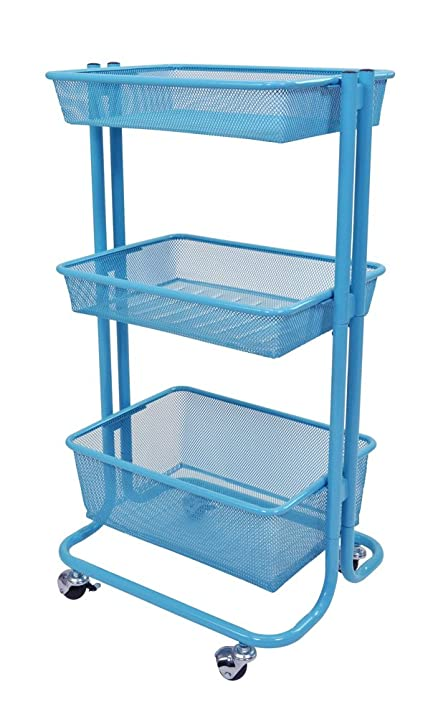 Luxor 3 Shelf Multipurpose Rolling Kitchen Utility Cart Steel   Blue