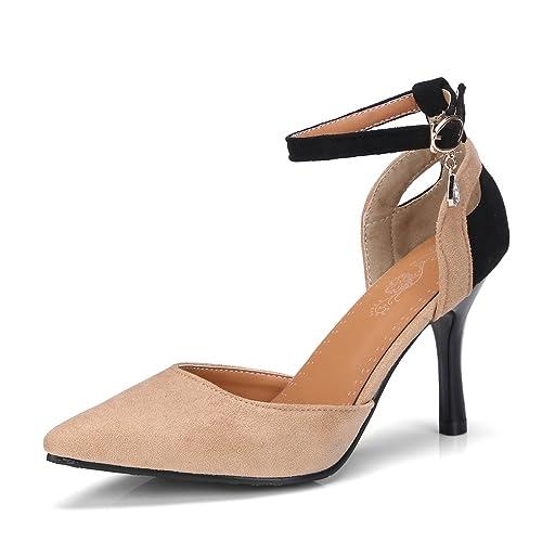 5b6704806490f OALEEN Escarpins Sexy Bout Pointu Femme Bride Cheville Talon Hauts Aiguille  Chaussures Soirée Beige 32