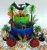 Prehistoric Deluxe DINOSAUR 18 Piece Birthday CAKE Topper Set Featuring Random Dinosaur Figures, Themed Decorative Accessories, Dinosaurs Average 1/2'' to 4'' Inches Tall