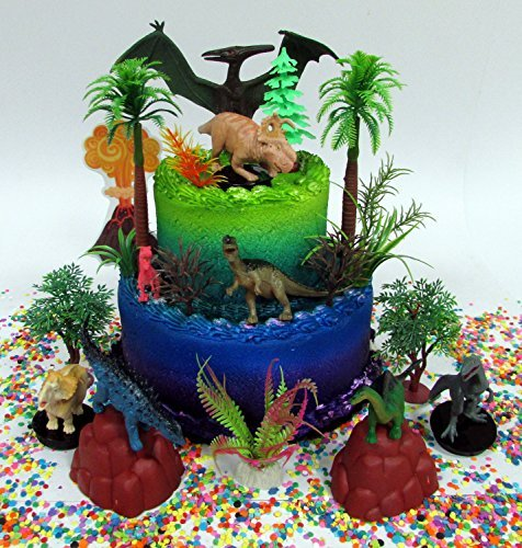 Deluxe Game Aquarium (Prehistoric Deluxe DINOSAUR 18 Piece Birthday CAKE Topper Set Featuring Random Dinosaur Figures, Themed Decorative Accessories, Dinosaurs Average 1/2