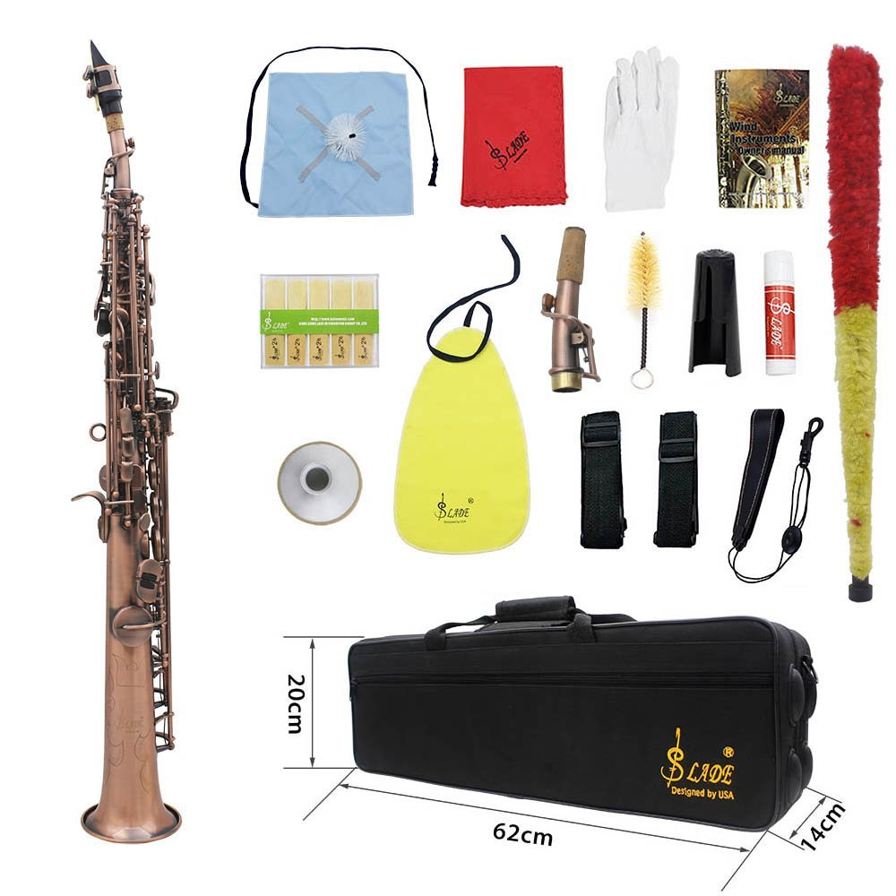 ammoon LADE WSS-899 Professional Straight Bb Soprano Saxophone Sax Woodwind Instrument Abalone Shell Key Carve Pattern with Case Gloves Cleaning Cloth Straps Grease Brush, Red Bronze ammoonI1935