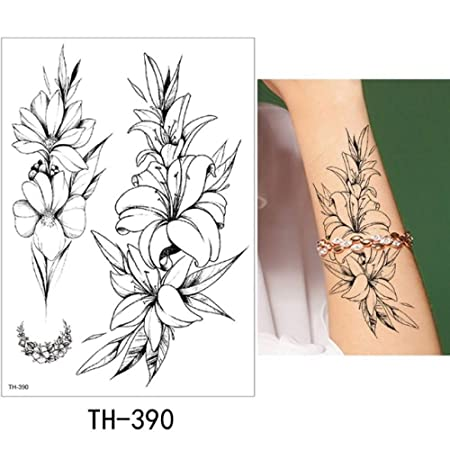 adgkitb Etiqueta engomada Temporal del Tatuaje de la Flor del ...