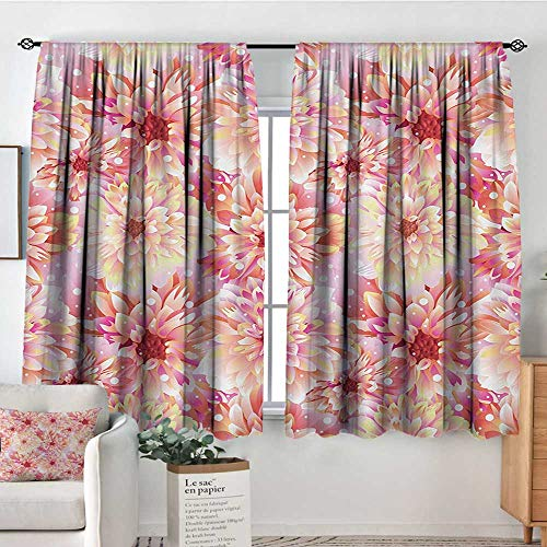 Mozenou Dahlia Flower Window Curtain Fabric Double Apple Blossom with Overlap Axis and Twist Bluntly Circle Pompons Decor Curtains by 63