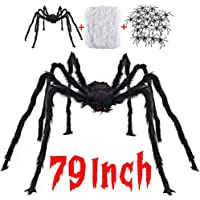 Halloween Decorations Outdoor with 6.6 Ft Giant Spider Scary Hairy Spider, 400sqft Spider Web, 20 Black Plastic Spiders…