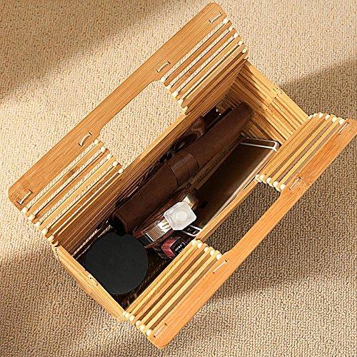 bag pochette mano spiaggia borse borsa lusso Bamboo estate pieghevole Hollow Vintga da borse a donna basket bag sera Pawaca Out 4q6Ox