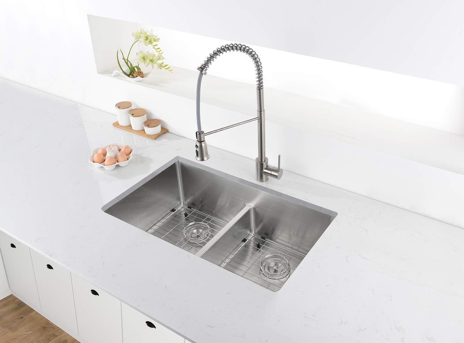 Ruvati 32-inch Low-Divide Undermount Tight Radius 50/50 Double Bowl 16 Gauge Stainless Steel Kitchen Sink - RVH7411 by Ruvati (Image #4)