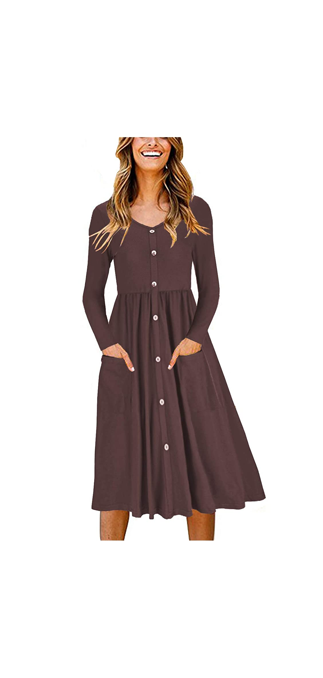 Women's Long Sleeve V Neck Button Down Skater Dress With