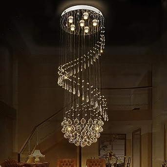 WandaElite Techo de la lámpara de la sala de la lámpara cristalina moderna escalera de caracol